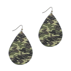 Camouflage Leather Teardrop Earrings