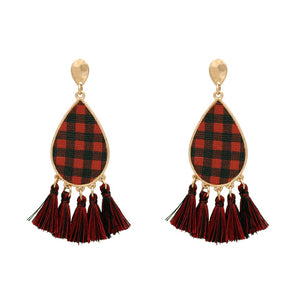 Buffalo Plaid Tassel Earrings, Red