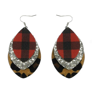 Plaid & Leopard Earrings, Red