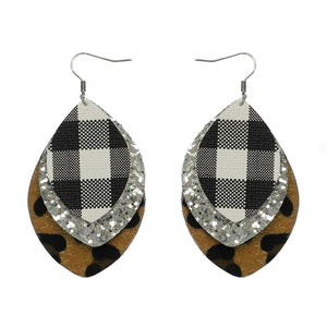 Plaid & Leopard Fur Earrings