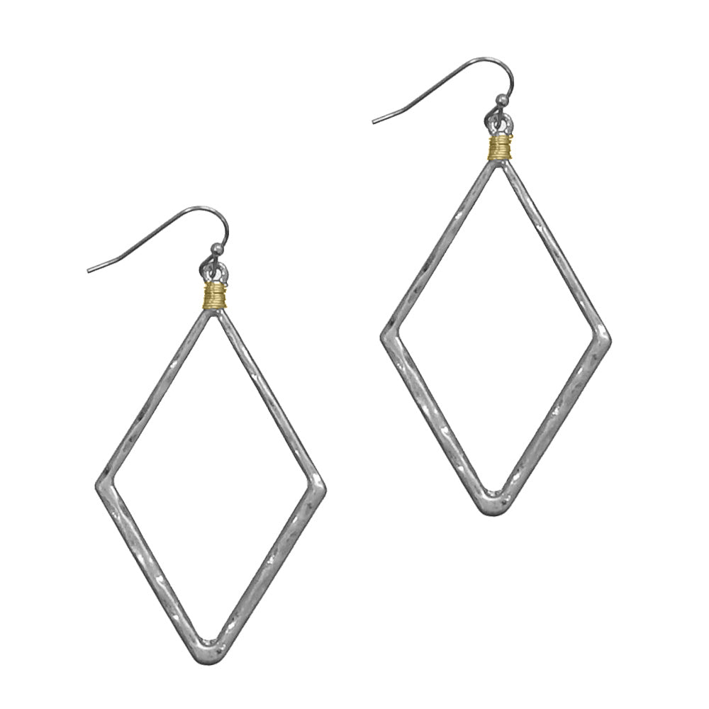 Hammered Diamond Earrings, Silver