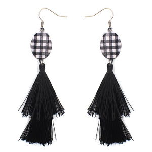 Plaid Oval w/ Thread Tassel Earrings, Black