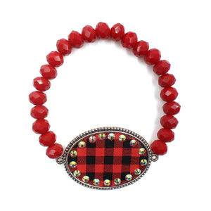 Plaid Bling Stretch Bracelet, Red