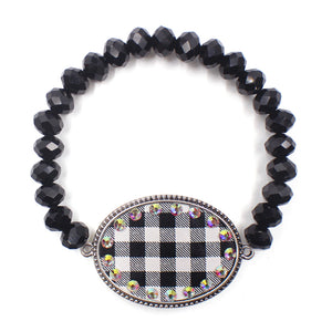 Plaid Oval Bling Bracelet, Blk/Wht