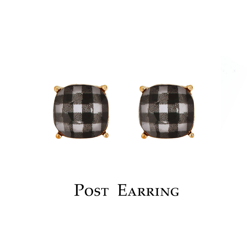 Buffalo Plaid Glass Stud Earrings, White