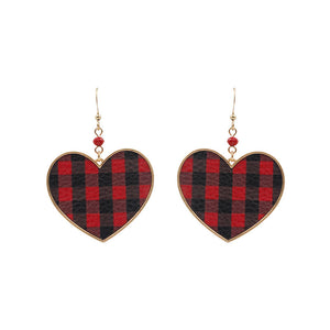 Buffalo Plaid Heart Earrings, Red