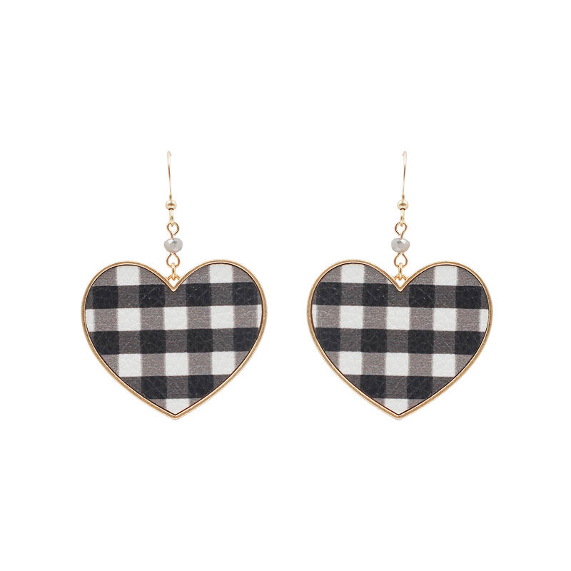 Buffalo Plaid Heart Earrings,White