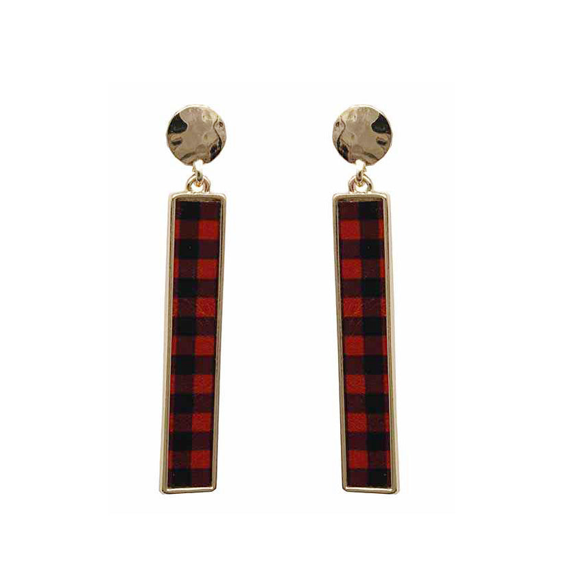 Plaid Bar Earrings, Red