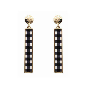 Plaid Bar Earrings, Black