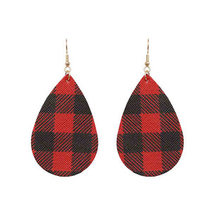 Teardrop Buffalo Plaid Earrings, Red