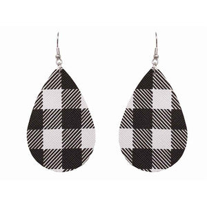 Teardrop Buffalo Plaid Earrings, White