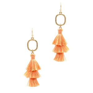Layered Tassel Earrings, Peach