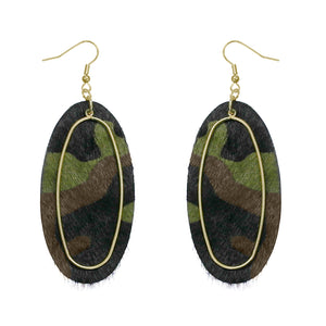 Camo Oval Leather Earrings