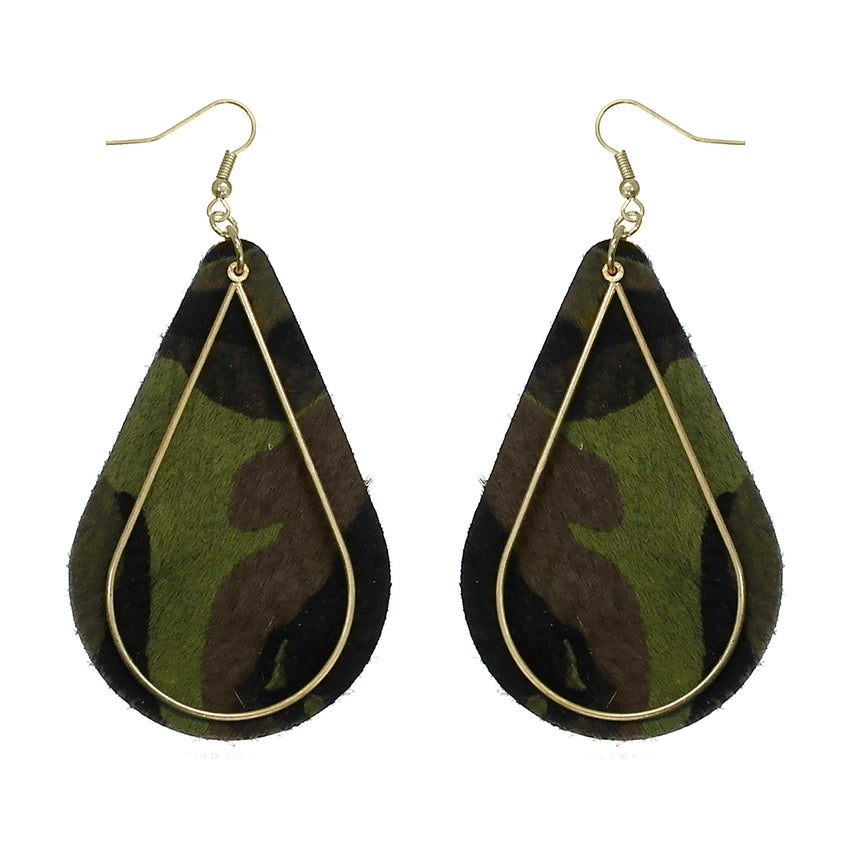 Camo Teardrop Leather Earrings