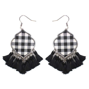 Moroccan Buffalo Plaid Earrings, White