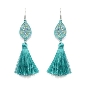Rhinestone Tassel Earrings, Turquoise