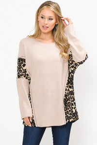 Leopard Pop Tunic, Taupe