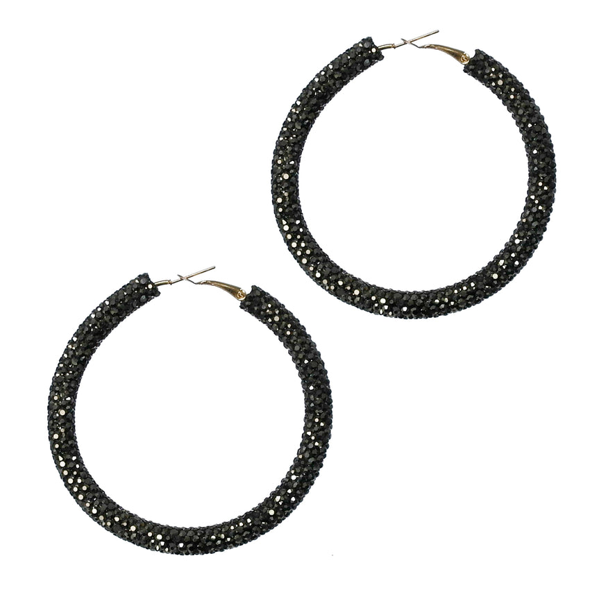 Rhinestone Hoop Earrings, Black