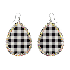 Buffalo Plaid Rhinestone, Teardrop Earrings