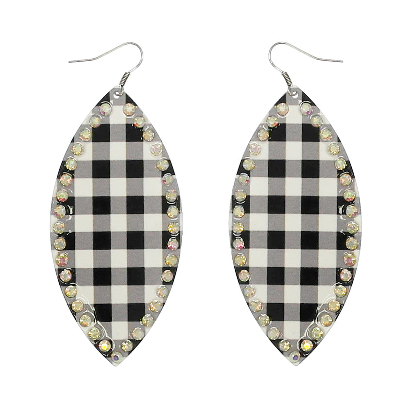 Buffalo Plaid, Pointed Oval w/ Rhinestone Metal Earrings