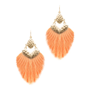 Tassel Hammered Earrings, Peach