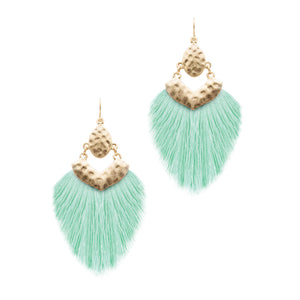 Tassel Hammered Earrings, Mint