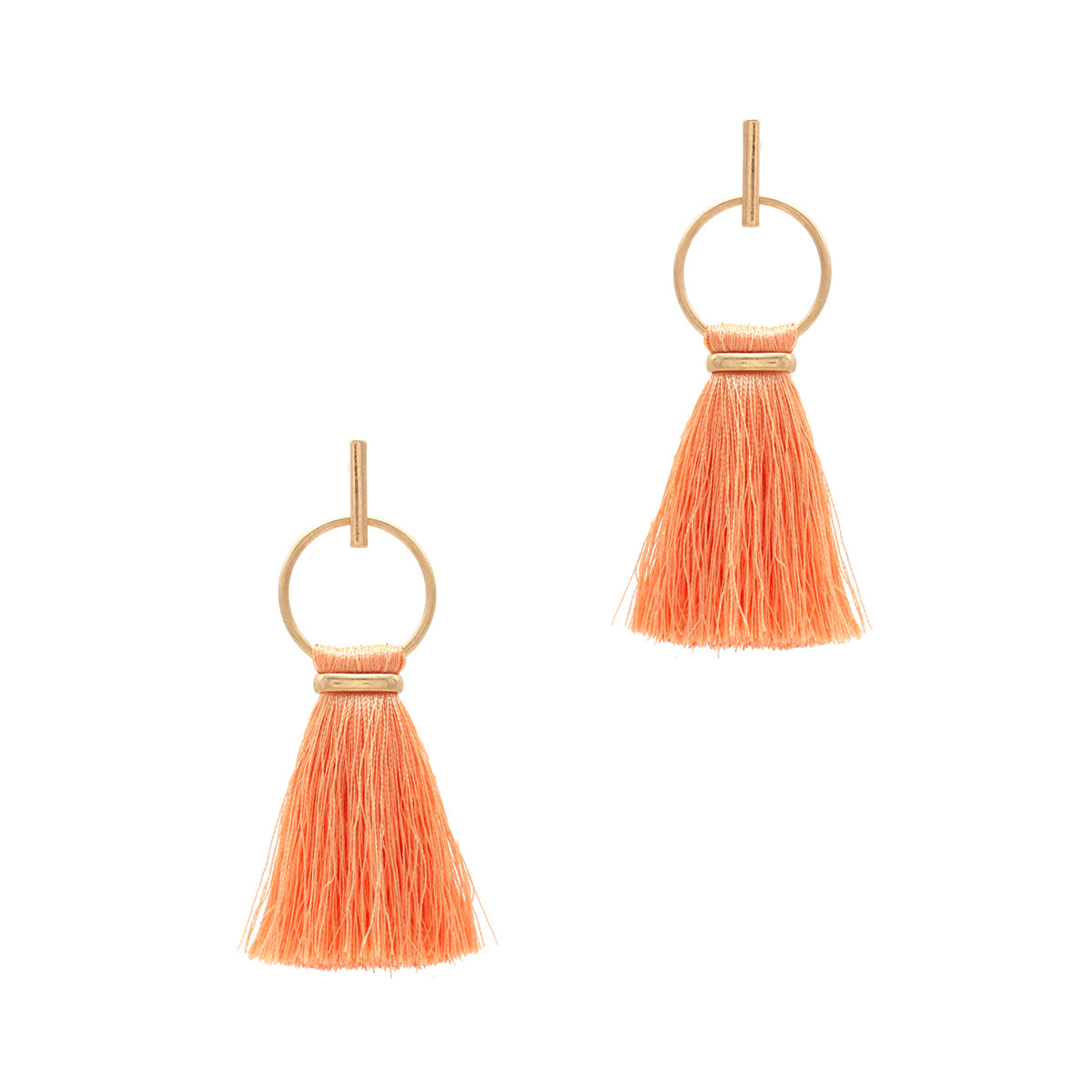 Thread Tassel Earrings, Peach