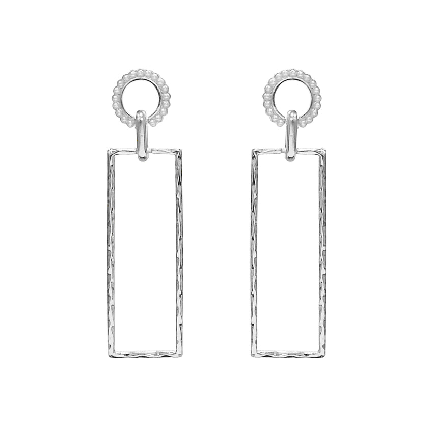 Hammered, Rectangle Cut-Out Earrings