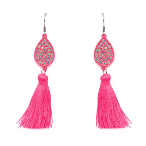 Pink Tassel, Rhinestone Earrings