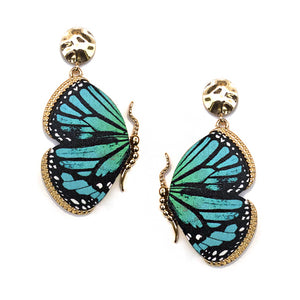 Wooden Butterfly Earrings, Mint