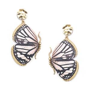 Wooden Butterfly Earrings, Ivory