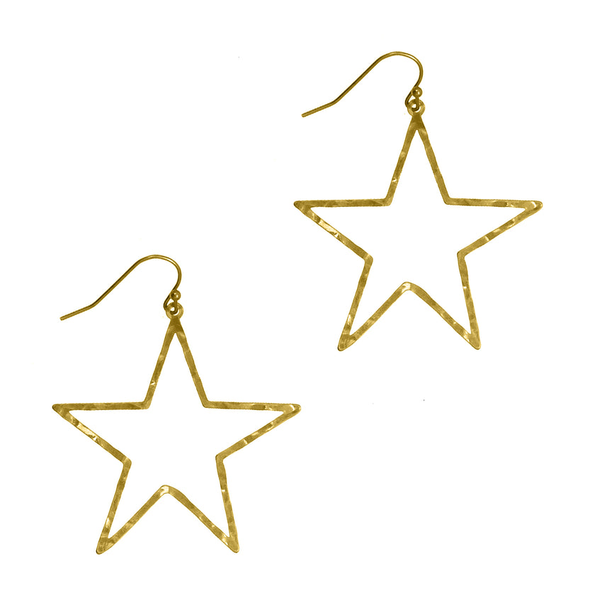 Hammered Metal Star Earrings