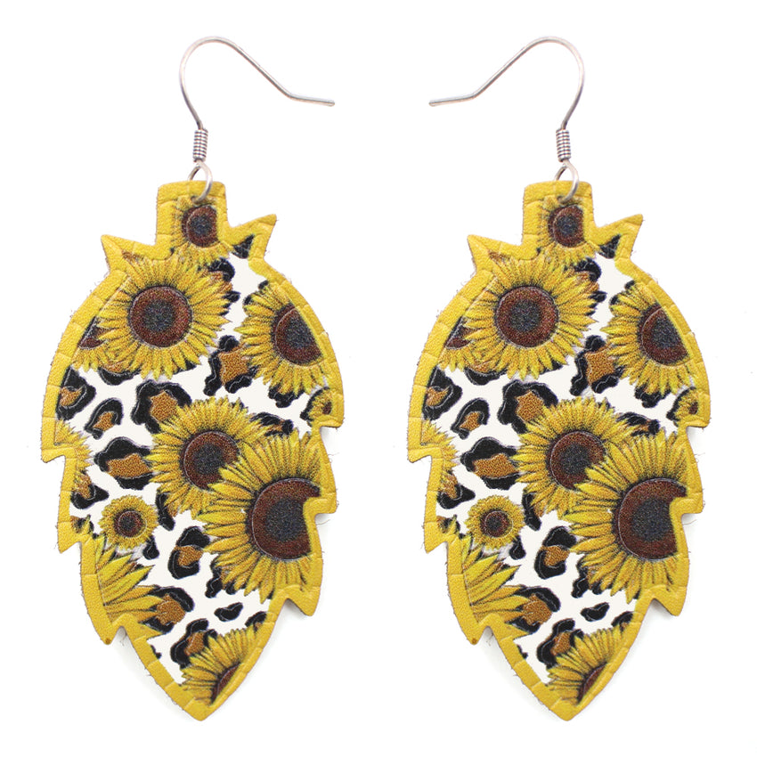 Sunflower Leopard Earrings