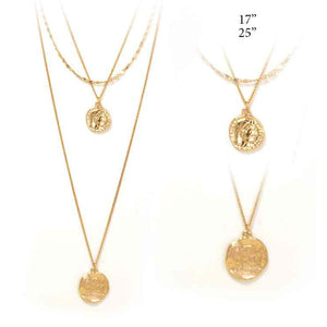 Layered Coin Pendant Necklace, Gold