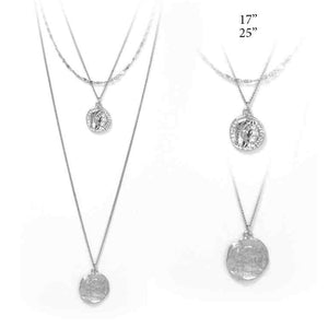 Coin Pendant, Layered Necklace, Silver