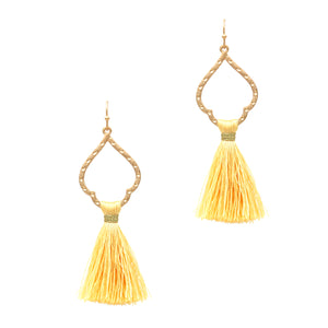 Teardrop Thread Tassel Earrings, Yellow