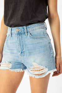 High Rise Hem Detail Shorts