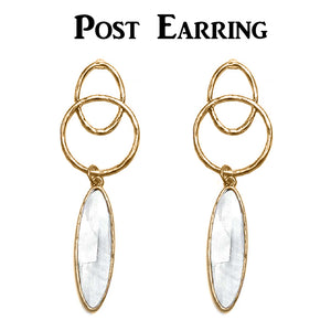 Oval Shell, Geometric Post Dangle Earrings