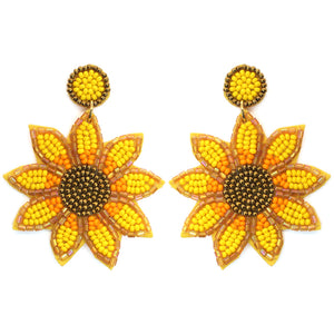 Seed Bead Sunflower Earrings