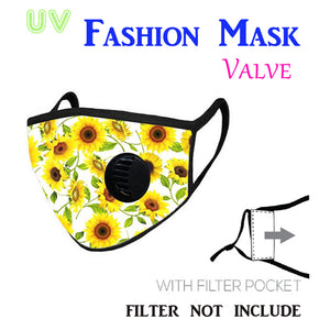Sunflower Print Fabric - Breathing Valve Mask