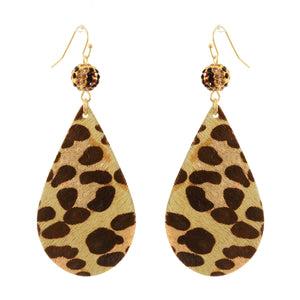 Leopard Fur Teardrop Earrings