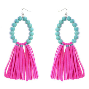 Stone, Suede Tassel Earrings