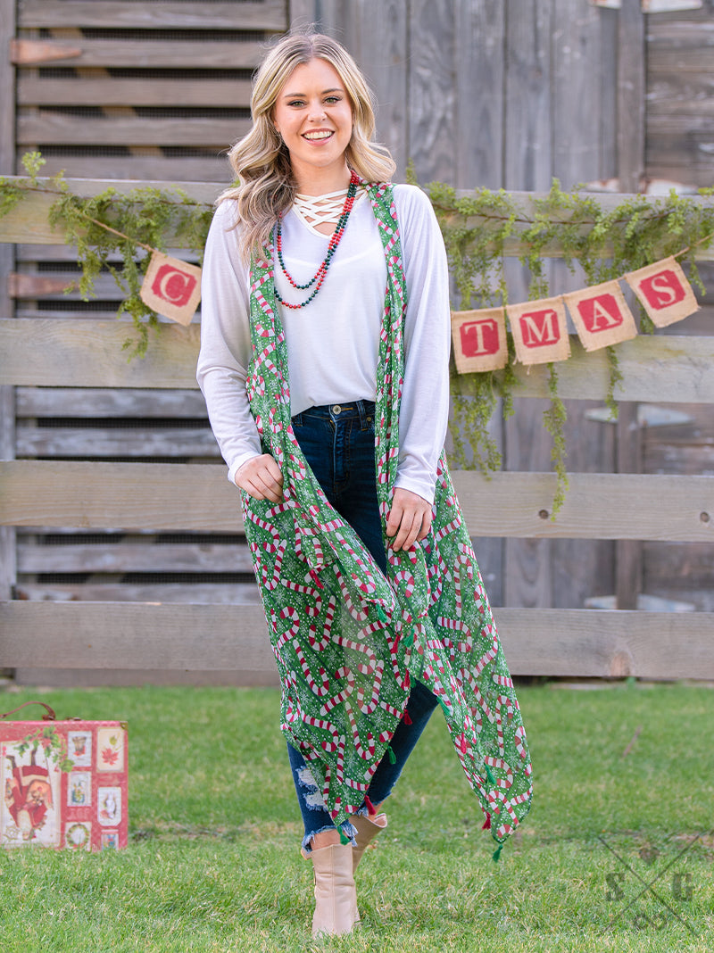 Crazy Candy Cane Vest with Tassels