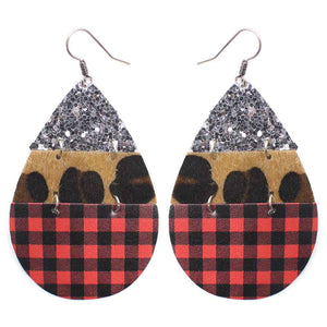 Buffalo Plaid, Leopard, and Glitter Earrings