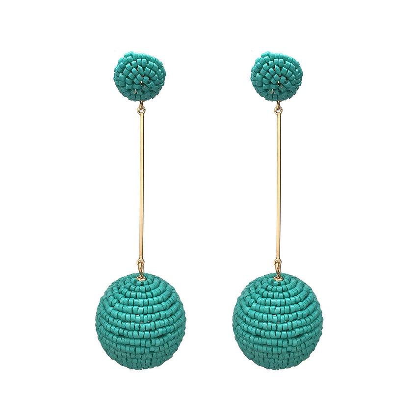 Turquoise Beaded Ball Earrings