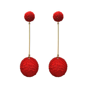 Red Beaded Ball Earrings