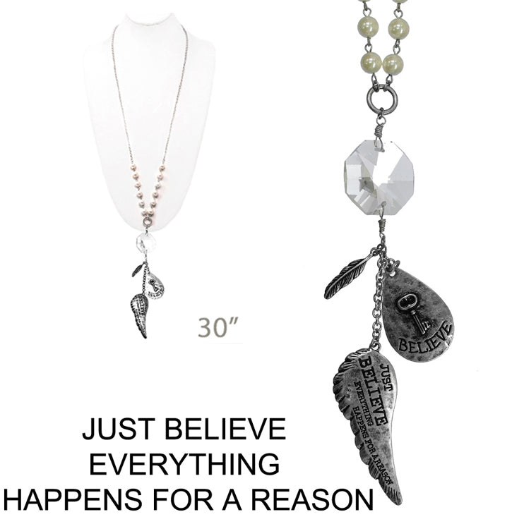 Believe Everything Happens for a Reason Necklace, Worn Silver