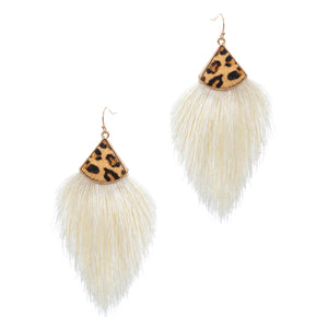 Leopard Tassel Earrings, White