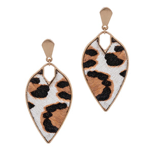 Leopard Fur Earrings, White and Gold
