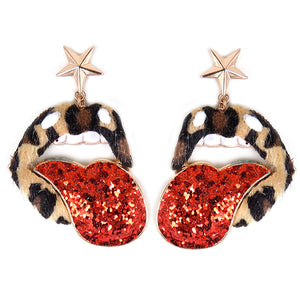 Leopard Lip Earrings